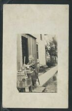 Rare RPPC 10's WOMAN using CLOTHES WASHING MACHINE WOOD TUB Hand Crank & Plunger