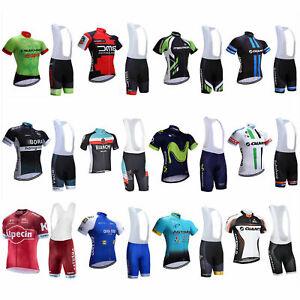 2020 Sports Team Cycling Bike Clothing Short Sleeve Jersey Bib Shirt Padded Kits