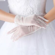 Tulle Gloves Lace Semi Sheer Nylon Black Ivory Short Touchscreen Sensitive Glove