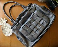 Botkier pewter grey metallic bowler leather satchel tote overnight bag gym $398!