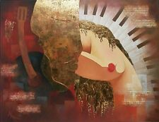 Arbe Berberyan Original Oil Painting with Collage, Gold Foil on Canvas - Signed