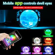 RGB LED Car Devil Demon Halo Angel Eyes Headlight Projector Light Ring Bluetooth