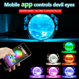 RGB LED Car Devil Demon Halo Angel Eyes Headlight Projector Light Ring App Decor