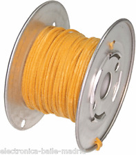 15 Mt YELLOW GUITAR ELECTRIC 22 AWG VINTAGE CLOTH COVERED WIRE - CABLE INTERNO