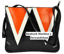 Damen Hand Schulter Tasche Handtasche schwarz orange weiß Kunst Leder - NEU
