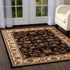 Ebony Bordered Oriental Area Rug Floral Vines Carpet -Actual Size 7'8'' x 10'7''