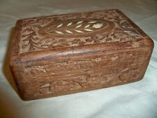 Vintage Carved Wood Wooden Box Hinged Lid Floral Inlay 6""