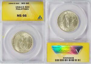 1944-S US/Philippines 50 Centavos ~ ANACS MS66 ~ Allen#15.01 ~ 1022