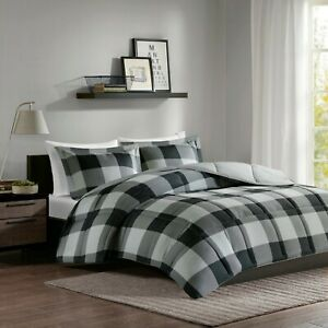 Grey Black Buffalo Check 3 Piece Down Alternative Light Weight Comforter Set