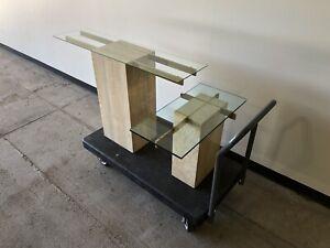 Artedi Mid Century Modern Italian Travertine Console And Occasional Table Set