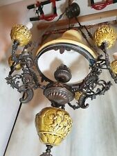 Rare!! Big 19th C Victorian Antique Bronze & Cherubs Majolica Chandelier 7 Lamp