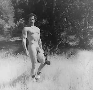 Vintage Photo Negative Beefcake Man Mustache Muscles Gay Interest Chainsaw