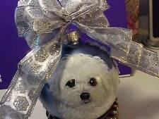 BICHON FRISE PUPPY HANDPAINTED CHRISTMAS ORNAMENT