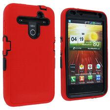 Red Outer Hybrid Case Cover w/ Black Hard Inner Case for LG Revolution 4G VS910