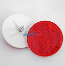 2x Red Circular Reflector with Rear Bolt Attachment, 60mm, Trailers gateposts