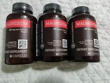Lot 3 Amazon Elements Magnesium 400mg, Vegan, 65 Capsules X3 Bottles