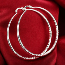 70mm Diamond-Cut Round Hoop Earrings E109 Womens 925 Sterling Silver Extra Large