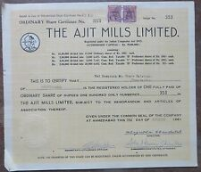 Scripophily Share Certificate India Documents Autographs1961 Ajit mills ltd