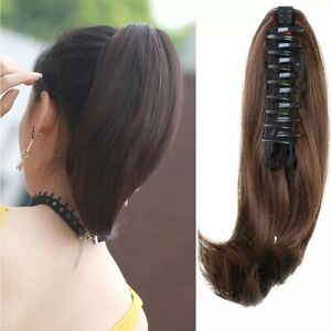 Synthetic Natural Short Straight Ponytail Extension Claw Clip in Hair Extensions