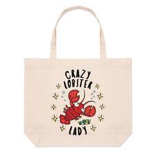 Crazy Lobster Lady Stars Large Beach Tote Bag - Funny Animal Shoulder