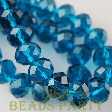 New 30pcs 8X6mm Rondelle Faceted Loose Spacer Glass Beads Bulk Peacock Blue