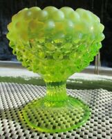 "FENTON TOPAZ VASELINE OPALESCENT HOBNAIL  Footed VASE 4.75""H GLOWS"