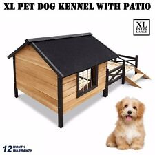 XL Pet Dog Timber Extra Large Kennel House with Patio  & Lift Up Asphalt Roof
