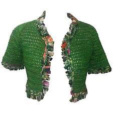 NWT Oscar de la Renta Hand Knit Green Bolero with Silk Floral Trim XS/S 2