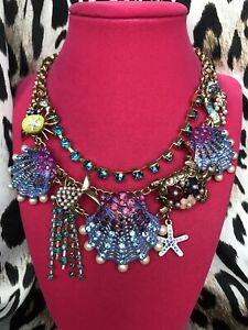 Betsey Johnson Into The Blue Sea Turtle Fish Scallop Shell Yellow Crab Necklace