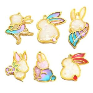 6Pcs Cartoon Rabbit Open Bezel Charm Blank Frame Pendant UV Resin DIYJewelry