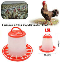 Poultry Feeder Chicken Bird Quail Food Drink Water Automatic Plastic Bucket 1.5L