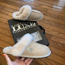 New Women's Size S US 6-7 Australia Luxe Collective Closed Mule Slippers Sand