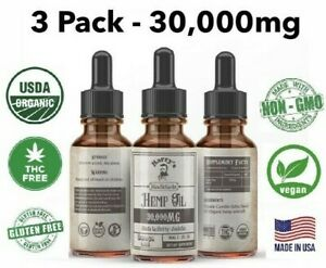 3 Pack - Hemp Oil Drops For Pain Relief, Stress , Anxiety, Sleep - 30,000 mg