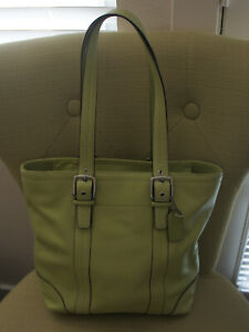 Coach tote sage green leather handbag