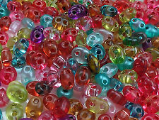 "Twin 2 Hole Czech Glass Seed Beads Size 2.5x5mm "" MIXTURE COLOR# 34 "" 50 Grams"