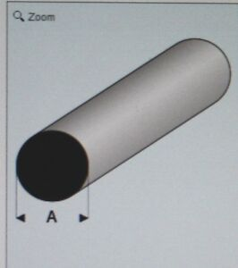 "MAQUETT 400-59/3 White Styrene Round Rod 4.50mm / 0.177"" x 330mm / 13""       X5"