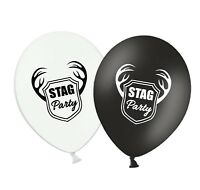 "Stag Party - 12"" Printed Black & White Assorted Latex Balloons pack of 5"