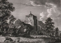 Beauchief Abbey, Derbyshire, Antique Old Print, Watts, Samdb
