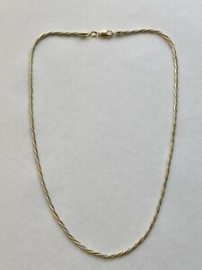 """9.5g Heavy 14K Yellow & White Gold Woven Snake Chain Necklace - 16"""""""