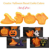 4pcs/set Halloween Biscuit Cookie Cutters Ghost Mold Cake Decorating Tool DIY
