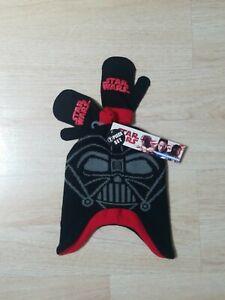 Star Wars Darth Vader Beanie Gloves Set Mittens Black Gray Red One Size Ear Muff