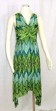 Chicos Dress 0 Small Sleeveless Asymmetric Hem V-neck Empire Waist Green Blue