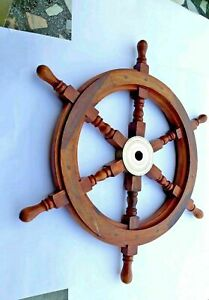 Nautical Wooden Wheel Pirate Wooden 18 Inch Brass Ship Steering Wall Décor Boat