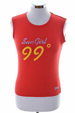 Nike Womens Vest Tank Top Size 12 Medium Red Cotton Elastane