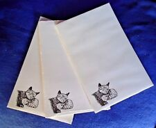 Mother Cat & Kitten 3 Notepads 50 Sheets 8.5x5.5 New Black & White Drawing