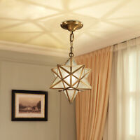 Antique Style Brass Star Pentagon Glass Shade 1 Lamp Ceiling Pendant Lights Deco