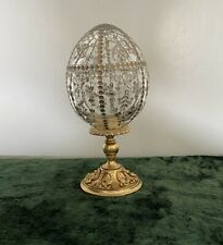 Faberge Collectors Crystal Imperial Egg Crystal Gold Ribbon Signed
