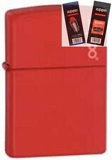Zippo 233zl red matte with logo Lighter with *FLINT & WICK GIFT SET*