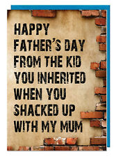 Funny Humour Stepdad Fathers Day Card - Shacked Up With My Mum (Brick Design)