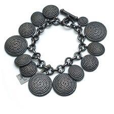 Nuevo David Yurman oscurecido Bobina de cable de plata esterlina pulsera con dijes de tamaño mediano